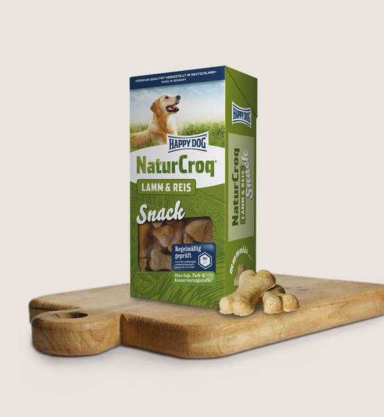 Happy dog snacks naturcroq lam en rijst (350 gram)
