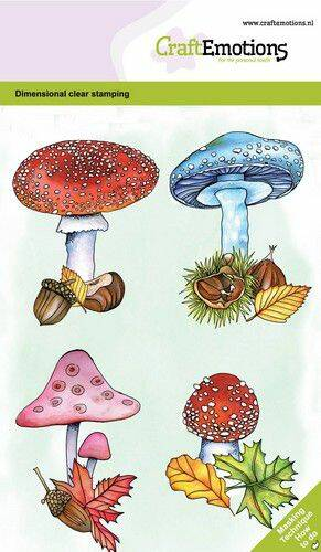 CraftEmotions clearstamps A6 - Paddenstoelen GB Dimensional stamp