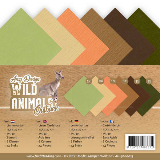 Linnen Cardstock Pack - 4K - Amy Design - Wild Animals Outback, nr. AD-4K-10023