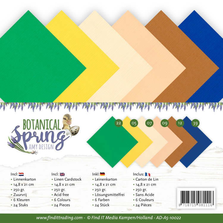 Linnen Cardstock Pack - A5 - Amy Design - Botanical Spring, nr. AD-A5-10022