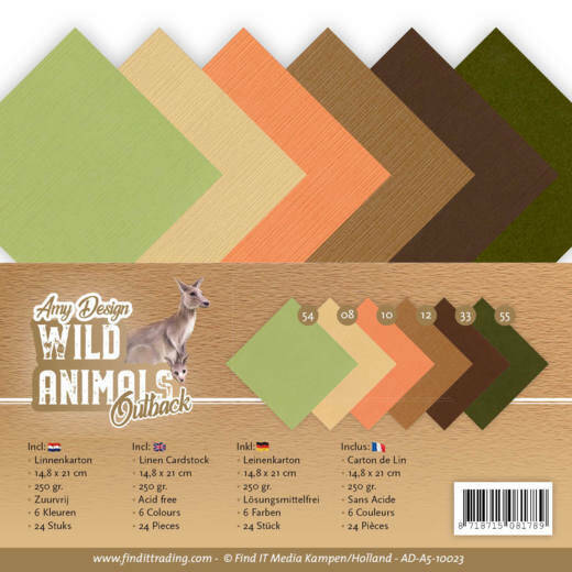 Linen Cardstock Pack - A5 - Amy Design - Wild Animals Outback, nr. AD-A5-10023