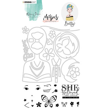 BASICSDCKJ03 - Karin Joan Clear Stamp & Die Cut Betty Missees Collection, nr.03