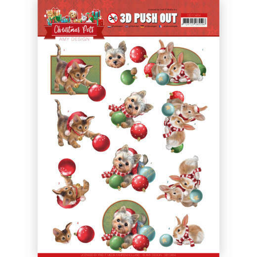 3D Push Out - Amy Design - Christmas Pets - Christmas balls, nr. SB10464