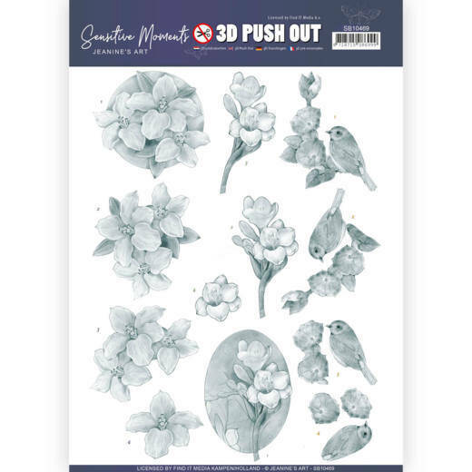 3D Push Out - Jeanine's Art - Sensitive Moments - Grey Freesias, nr. SB10469