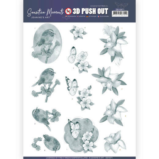 3D Push Out - Jeanine's Art - Sensitive Moments - Grey Lily, nr. SB10471
