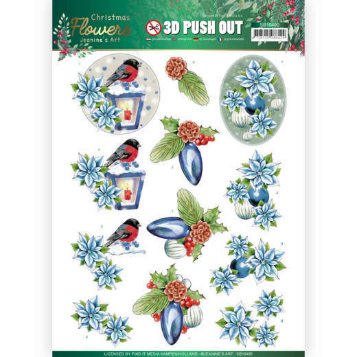 3D Push Out - Jeanines Art Christmas Flowers - Christmas Lantern, nr. SB10480