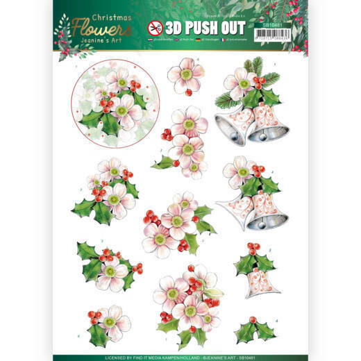 3D Push Out - Jeanines Art Christmas Flowers - Pink Christmas Flowers, nr. SB10481
