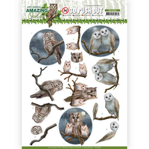3D Push Out - Amy Design - Amazing Owls - Night Owls, nr. SB10486