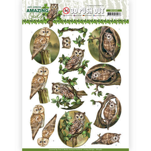 3D Push Out - Amy Design - Amazing Owls - Forest Owls, nr. SB10487