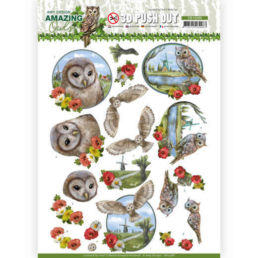 3D Push Out - Amy Design - Amazing Owls - Meadow Owls, nr. SB10488