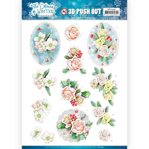 3D Push Out - Jeanine's Art - The colours of winter - Pink winter flowers, nr. SB10491