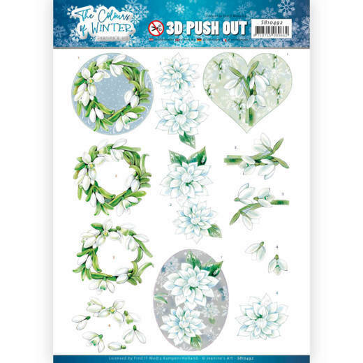 3D Push Out - Jeanine's Art - The colours of winter - White winter flowers, nr. SB10492