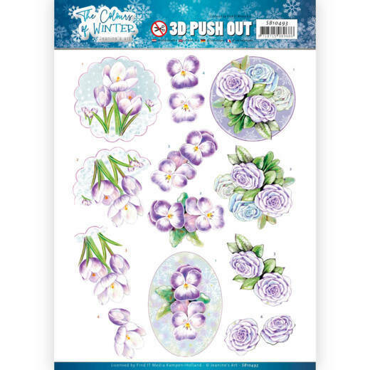 3D Push Out - Jeanine's Art - The colours of winter - Purple winter flowers, SB10493