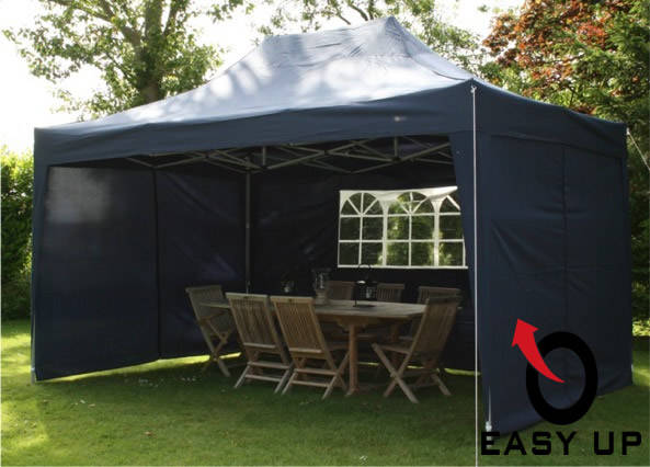 Easy up partytent 4,5 x 3 m. Marineblauw