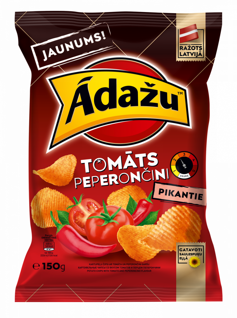 Potato chips with tomato and peperoncino flavour