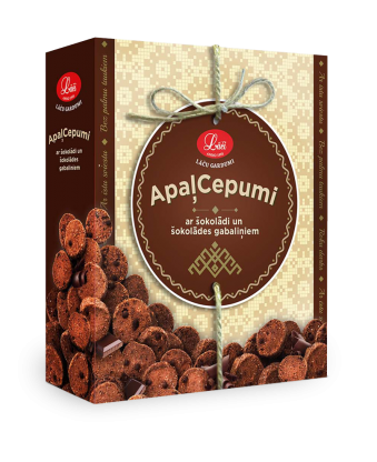 Lāču round cookies with cocoa and chocolate pieces