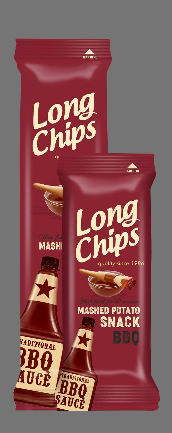 Long potato chips with BBQ flavoured