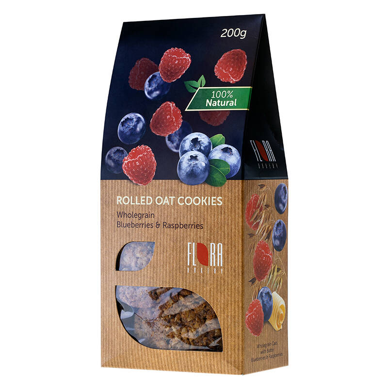 Flora wholegrain rolled oat cookies with mixed berries
