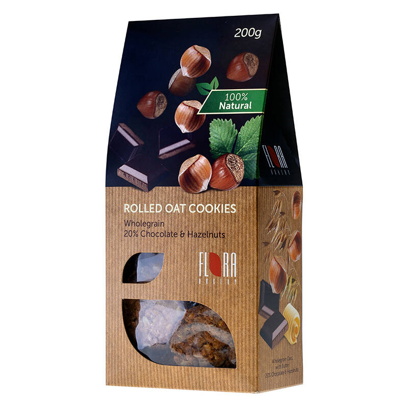 Flora wholegrain rolled oat cookies with chocolate and hazelnuts, pre order