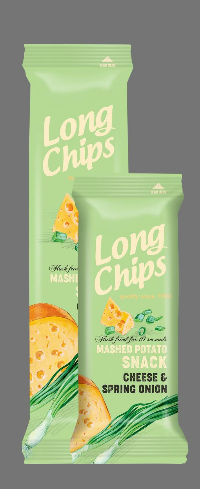 Long potato chips with cheese and spring onion