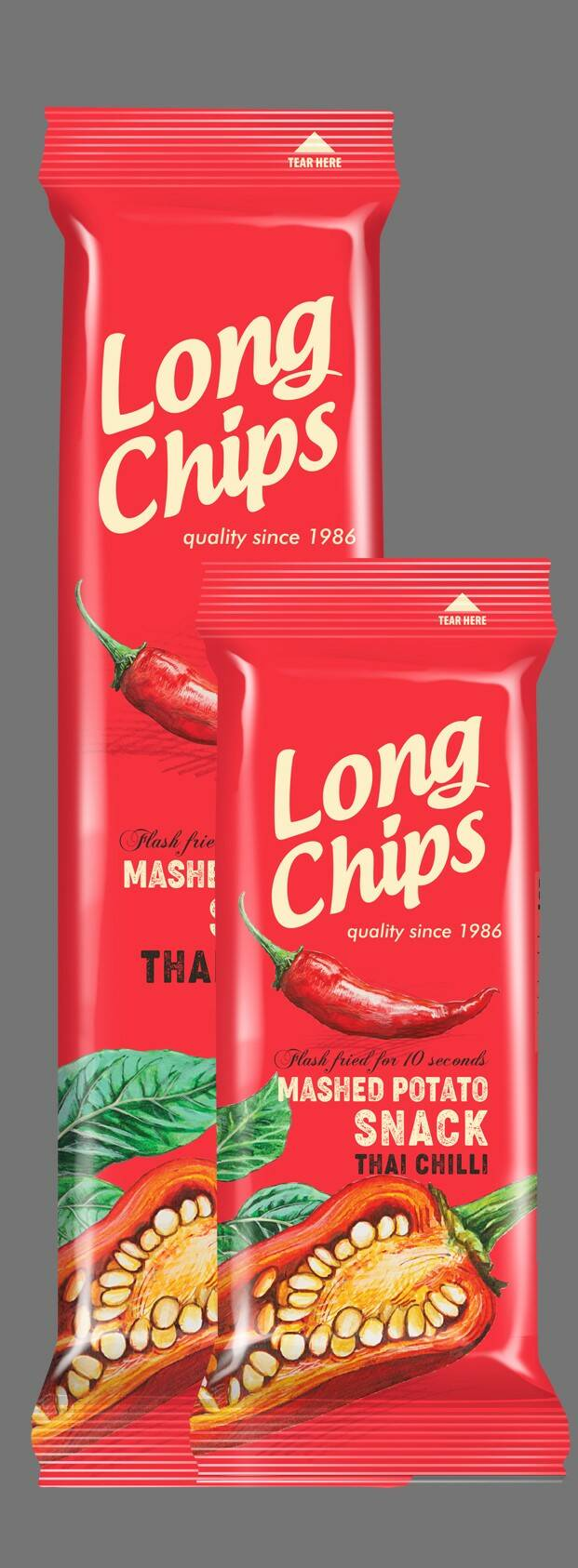Long potato chips with Thai chilli
