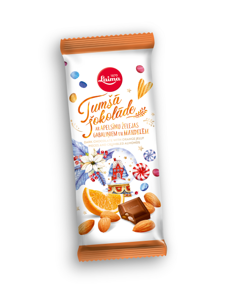 Laima dark chocolate with orange jelly pieces and crumbled almonds