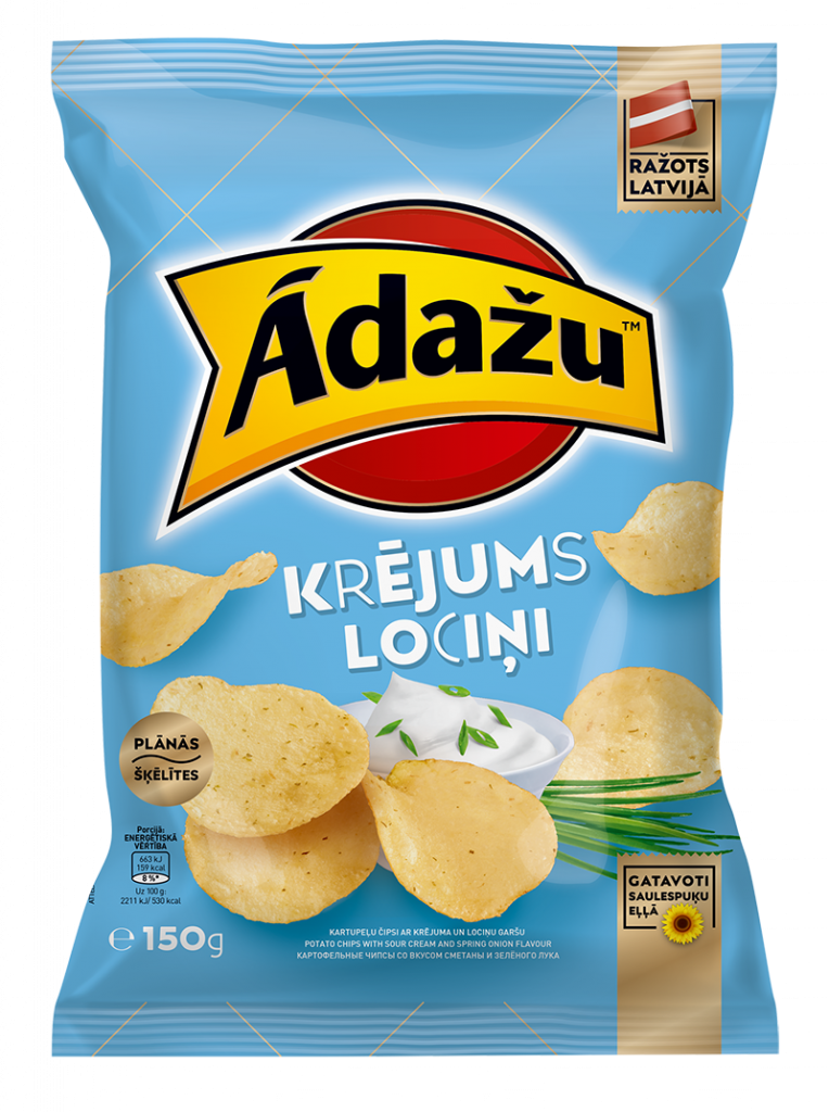 Potato chips with cream and spring onion flavor