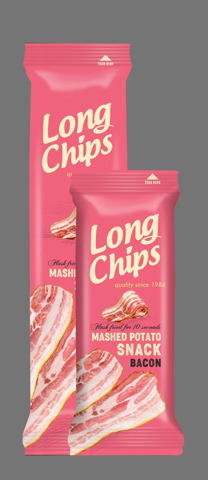 Long potato chips with bacon