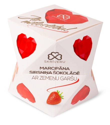 Marzipan heart in chocolate with strawberry flavour
