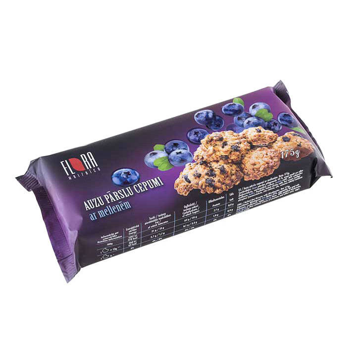 Flora rolled oat cookies with blueberries
