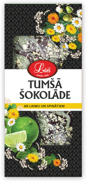 Lāču dark chocolate with lime and spinach