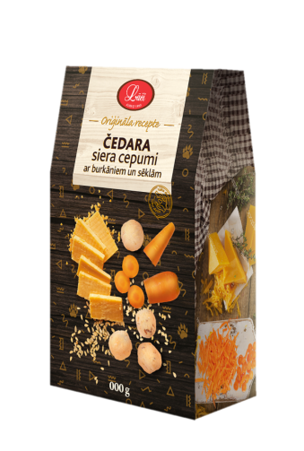 Lāču cheddar cheese cookies with carrots and seeds, pre order