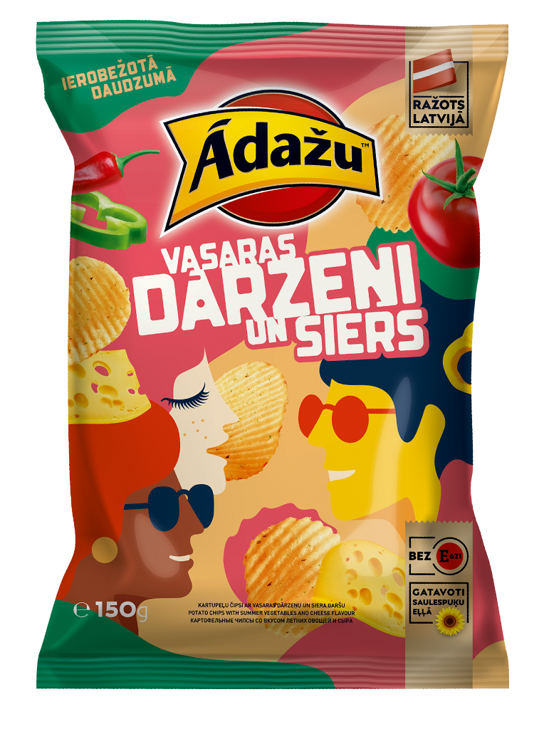 Ādažu chips with summer vegetables and cheese taste