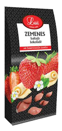 Lāču strawberry in white chocolate with sparkling wine flavour