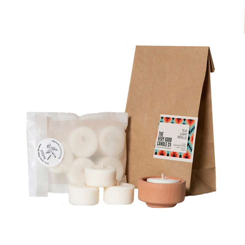 The Very Good Candle Company Waxinelichtjes met Terracotta Houder