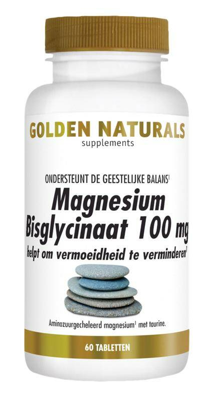 Magnesium bisglycinaat 100mg 90 of 180tab Golden Naturals