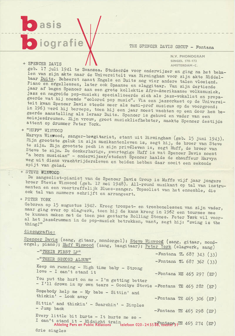 Spencer Davis Group - 1966 [Holland] - Press Release