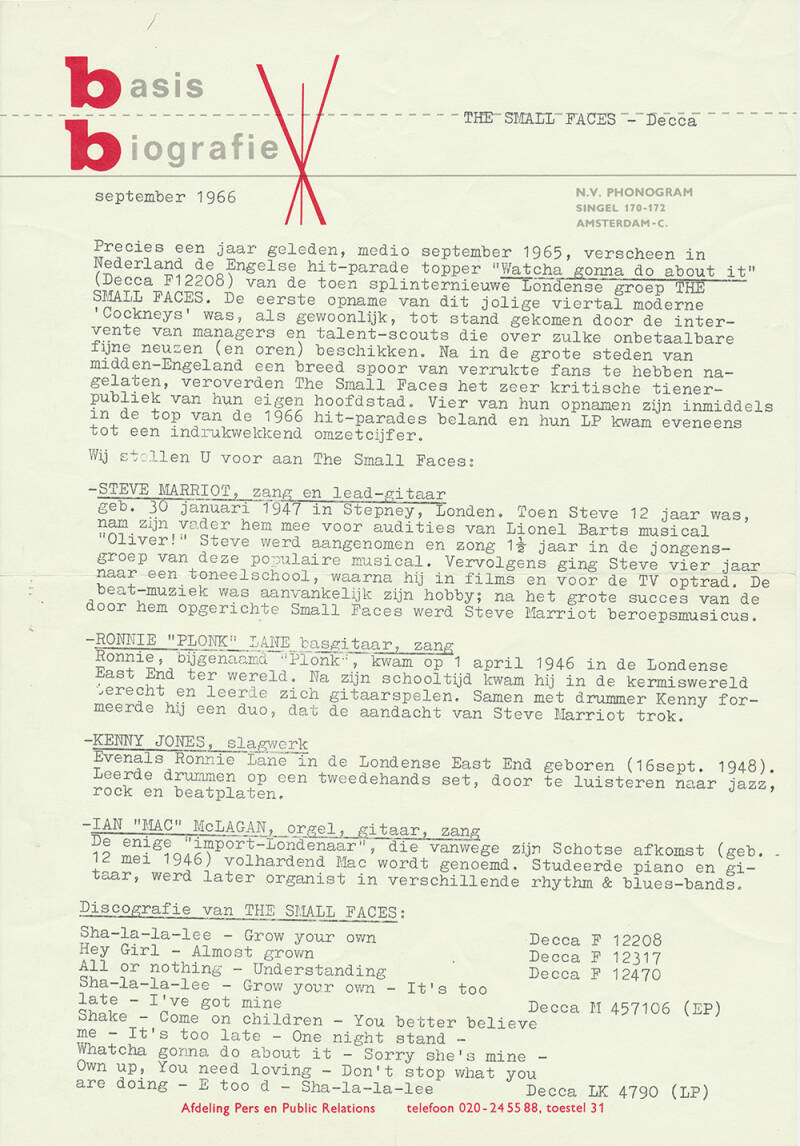 The Small Faces press release