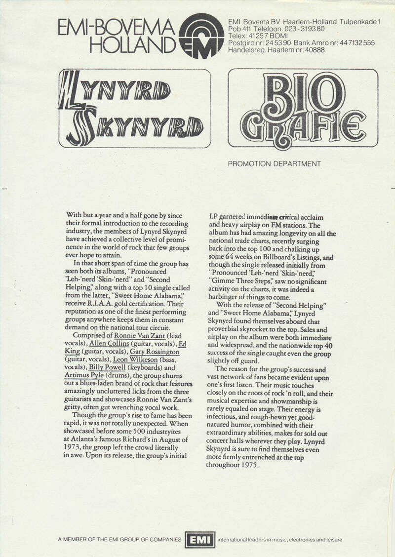 Lynyrd Skynyrd press kit