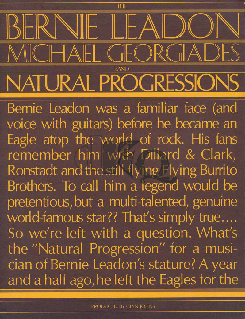 Bernie Leadon / Michael Georgiades Band - 1977 [USA] - Press Release