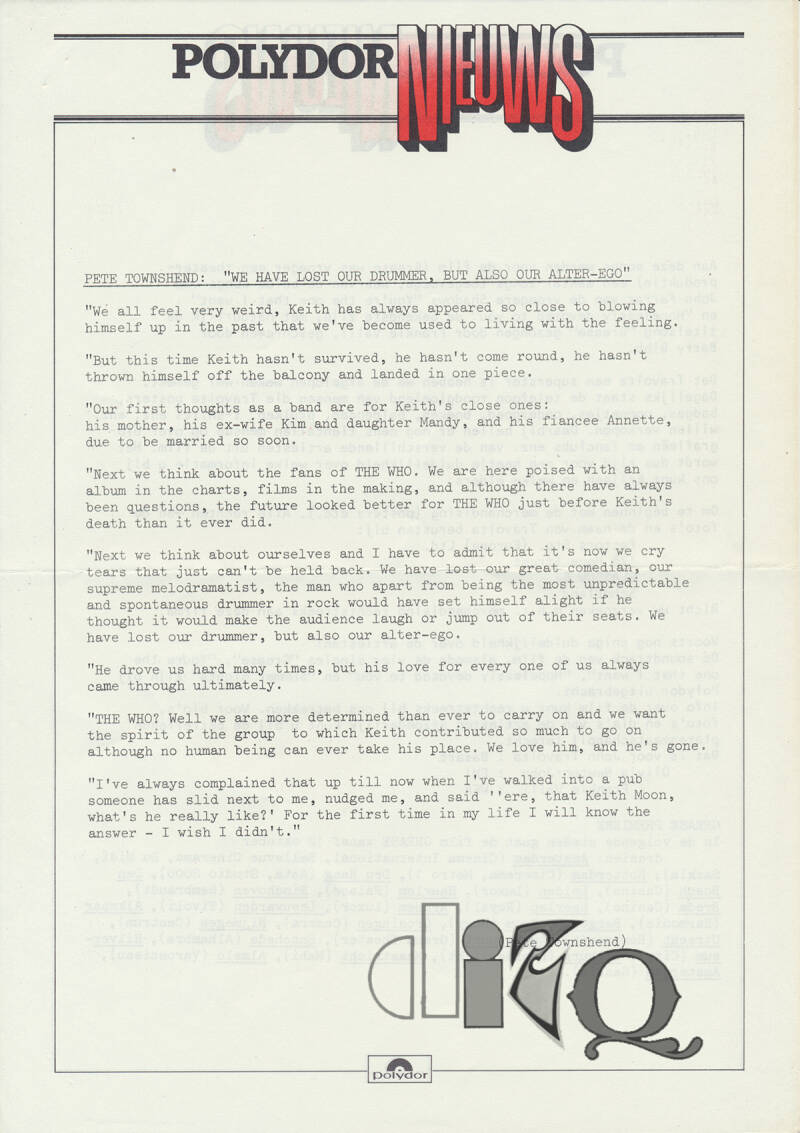 The Who - We Have Lost Our Drummer, But Also Our Alter-Ego - October 1978 [Holland] - Press Release