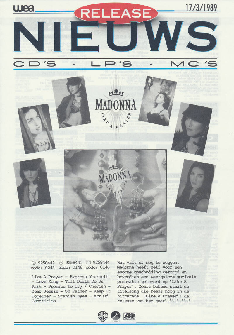 Madonna (and others) - Like A Prayer - March 17, 1989 [Holland] - Press Release