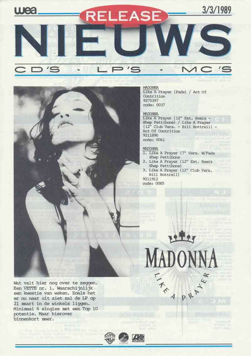 Madonna (and others) - Like A Prayer - March 3, 1989 [Holland] - Press Release