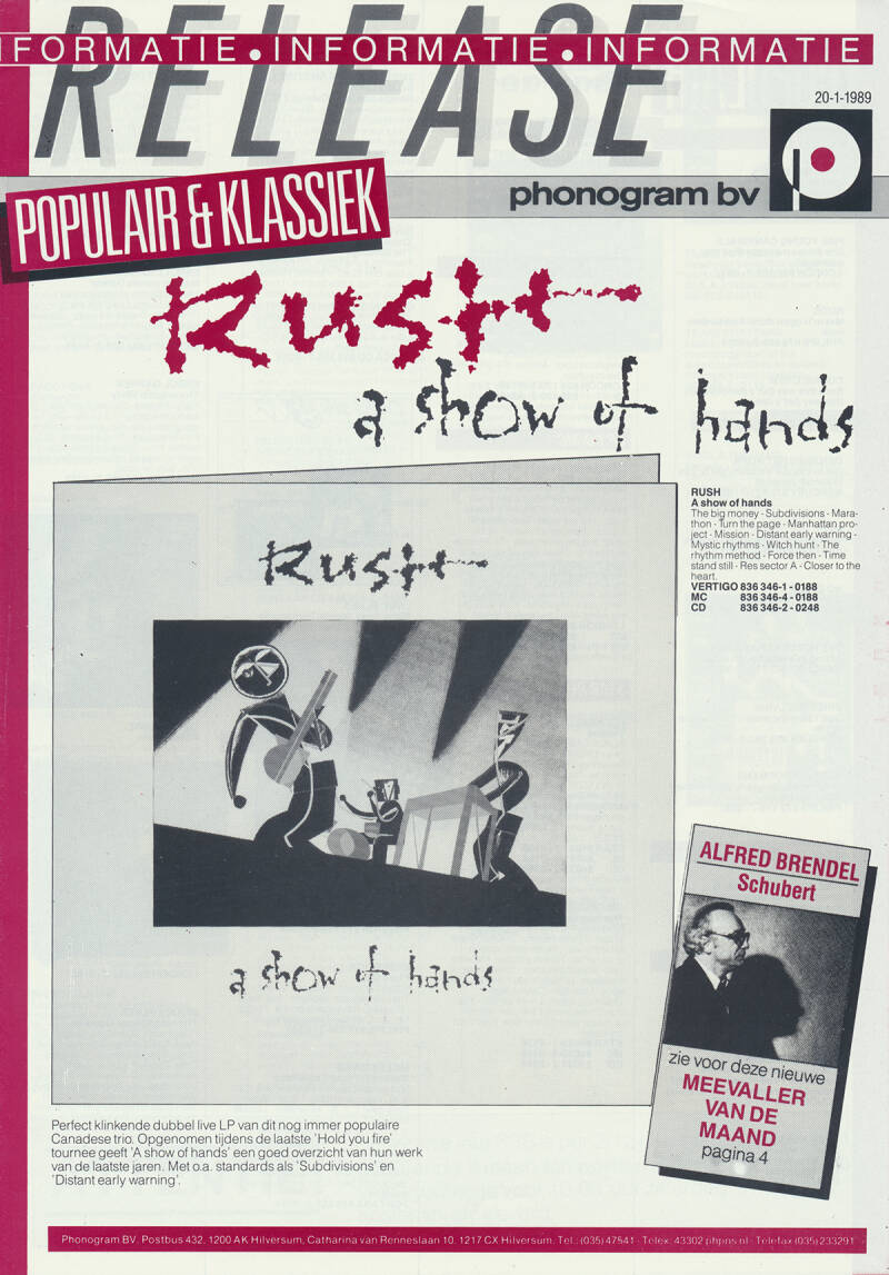 Rush (and others) - A Show Of Hands - January 20, 1989 [Holland] - Press Release