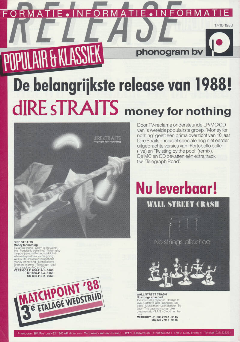 Dire Straits (and others) - Money For Nothing - October 17, 1988 [Holland] - Press Release