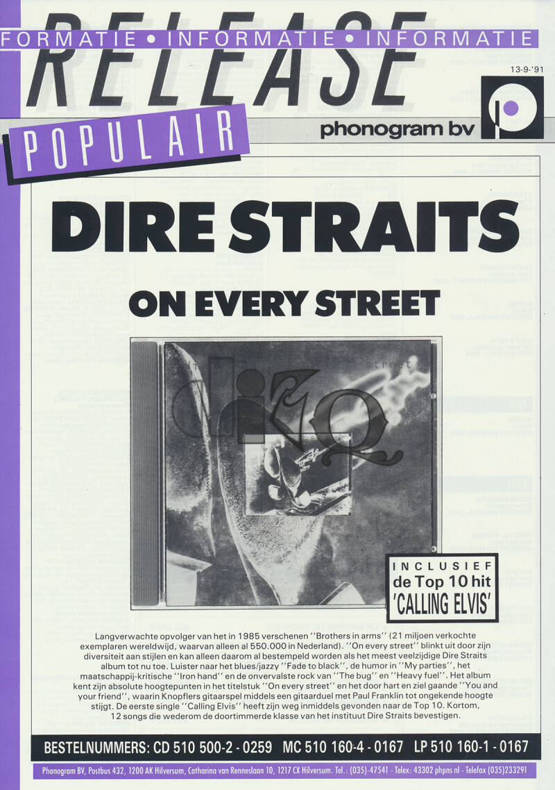 Dire Straits (and others) - On Every Street - September 13, 1991 [Holland] - Press Release