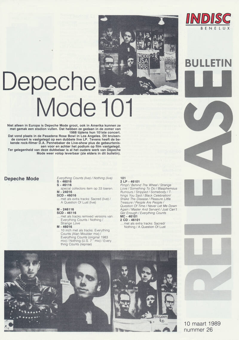 Depeche Mode (and others) - 101 - March 10, 1989 [Holland] - Press Release