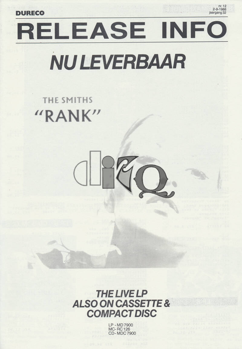 The Smiths (and others) - Rank - September 2, 1988 [Holland] - Press Release