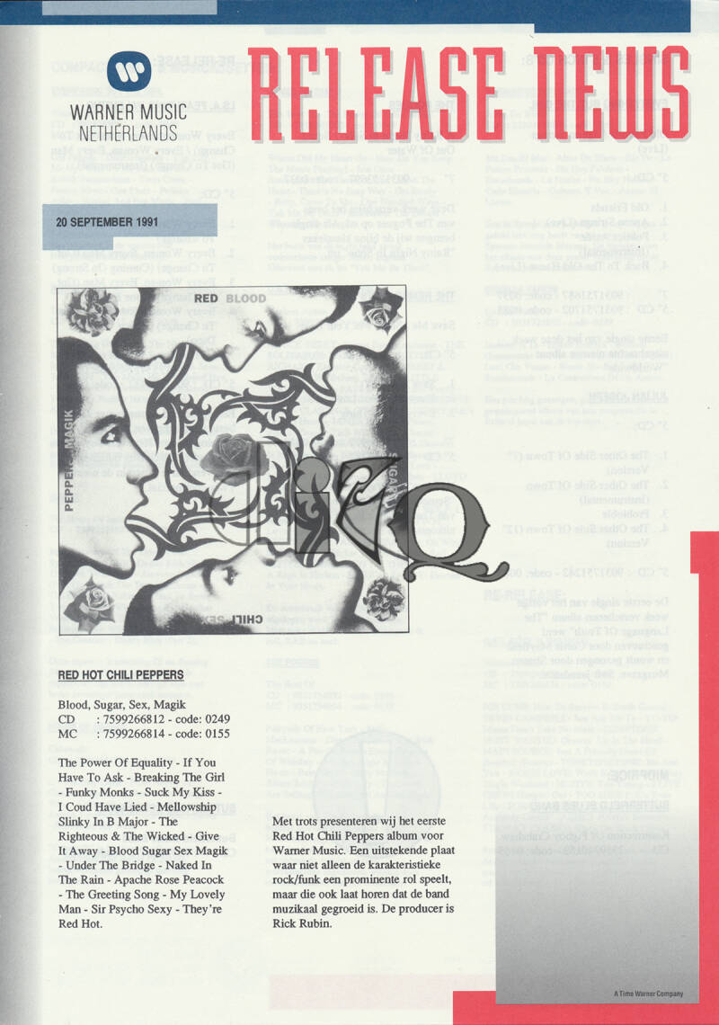 Red Hot Chili Peppers (and others) - Blood Sugar Seks Magik - September 20, 1991 [Holland] - Press Release