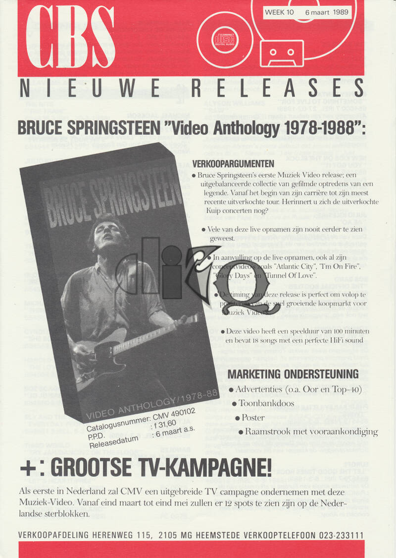 Bruce Springsteen (and others) - Video Anthology 1987-1988 - March 6, 1989 [Holland] - Press Release